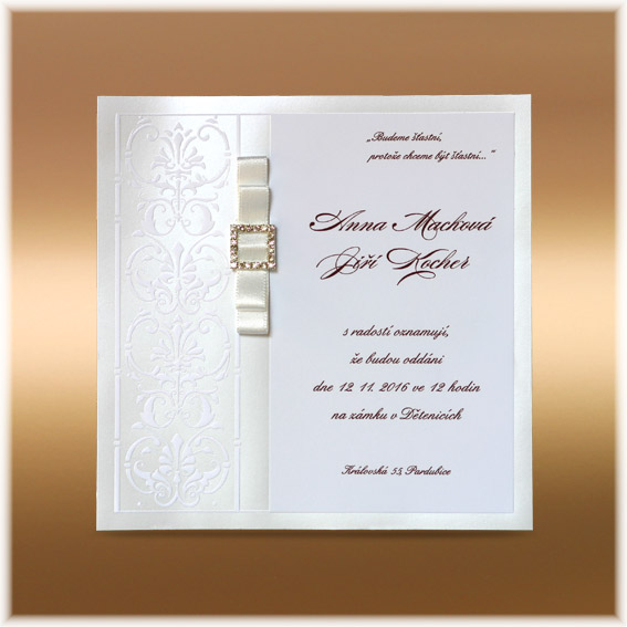Luxury Wedding Invitation with buckle and double bow