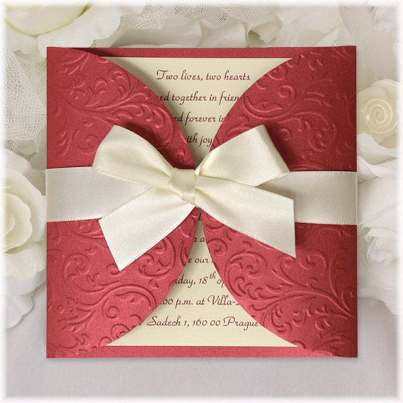 Wedding Invitation  claret