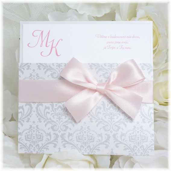 Pearls wedding invitation with baby pink bow