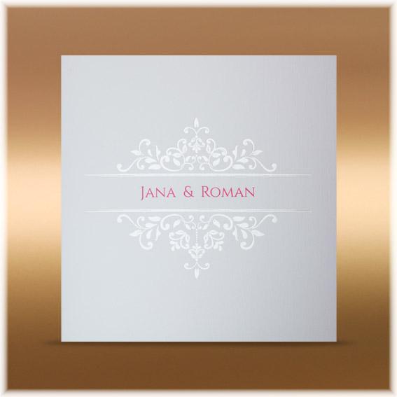 Elegantné svadobné oznámenie s lesklými ornamentami
