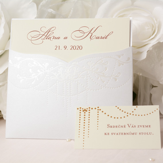 Wedding invitation in metallic pocket with pearl embossing