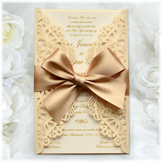 Luxusné čipkové svadobné oznámenie