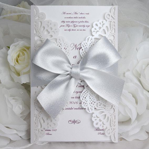 Čipkované svadobné vyrezávané oznámenie