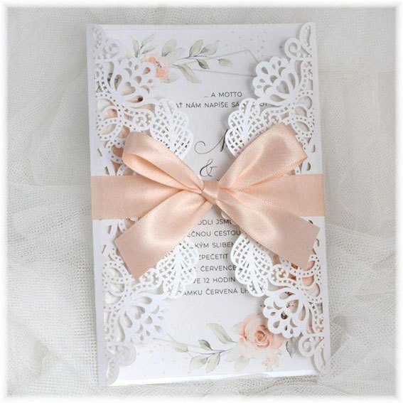 Flower Geometric Wedding Invitation with lace