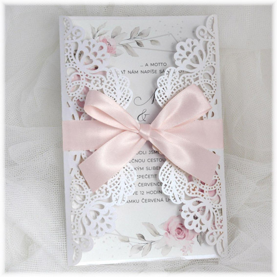 Pink Flower Geometric Wedding Invitation with lace