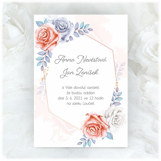 Wedding invitation with red and blue flowers
