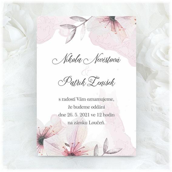 Růžové svatební oznámení