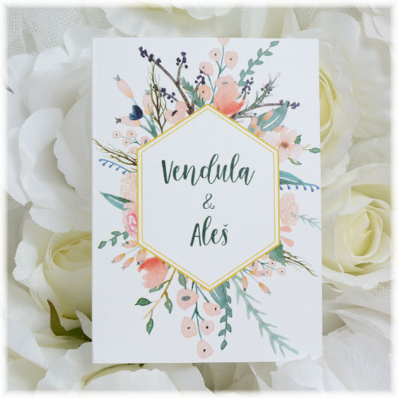 Wedding invitation with flovers