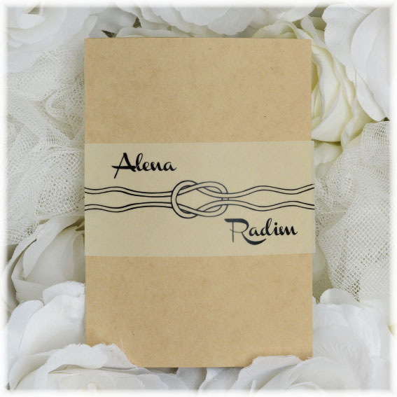 Kraft wedding invitation with knot and shoulder straps
