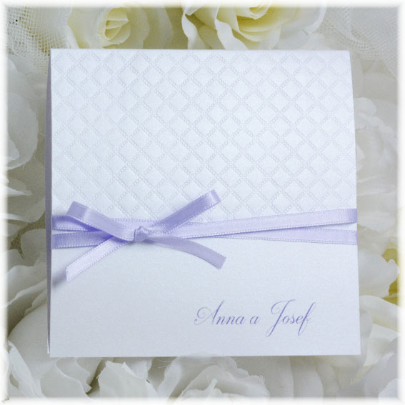 Pearl wedding invitation with a violet bow
