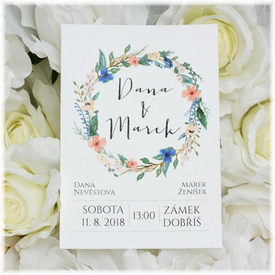 Svadobné oznámenia s kvetinovým vencom