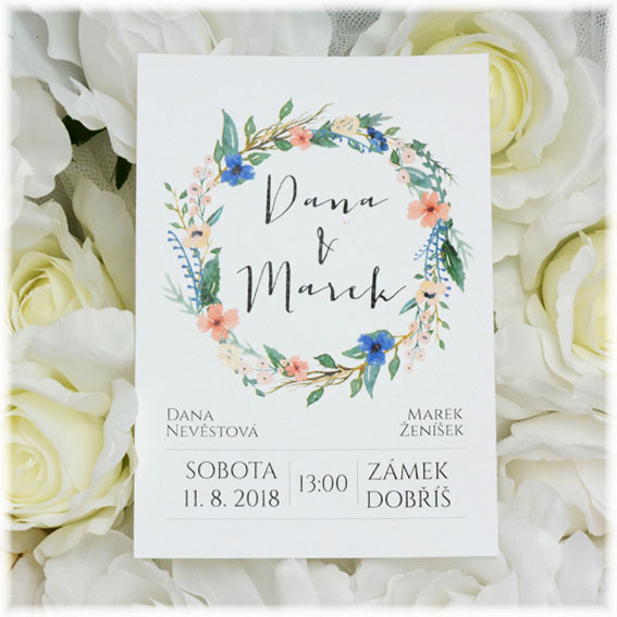 Wedding invitation with Flower Wreath