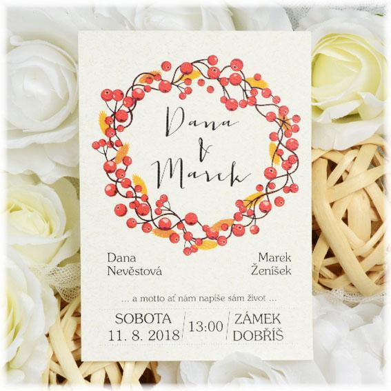 Wedding invitation with autumn wreath