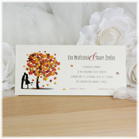Wedding invitation with tree