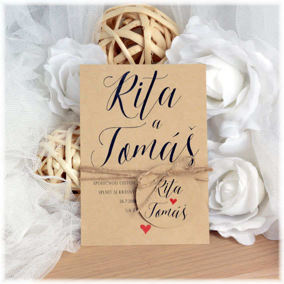 Kraft wedding invitation with string