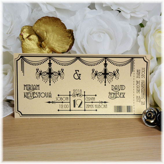 Wedding invitation by style Great Gatsby
