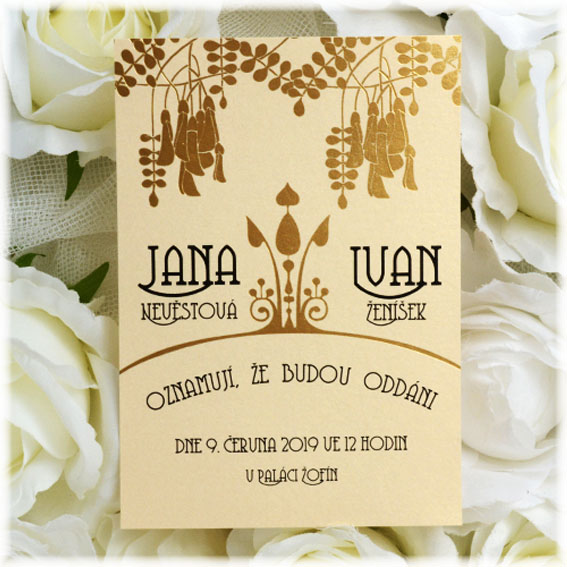 Wedding invitation with gold embossing