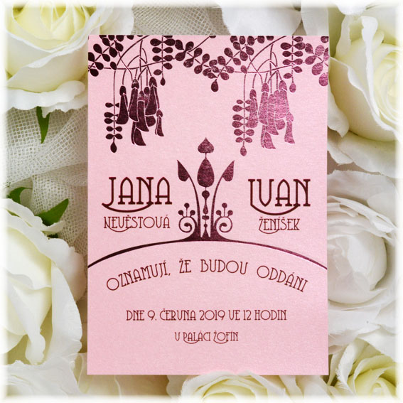 Pink wedding invitation with wine embossing