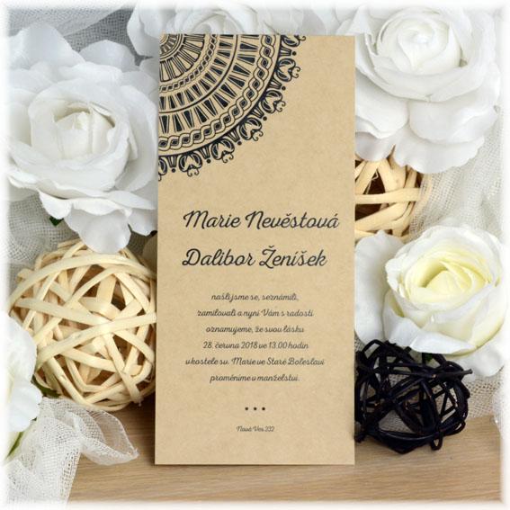 Svadobné oznámenia s rohovým ornamentom