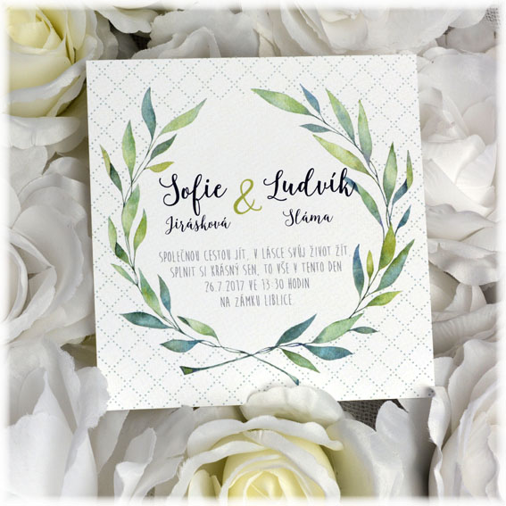 Wedding invitation leaf wreath