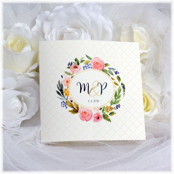Wedding invitation floral wreath