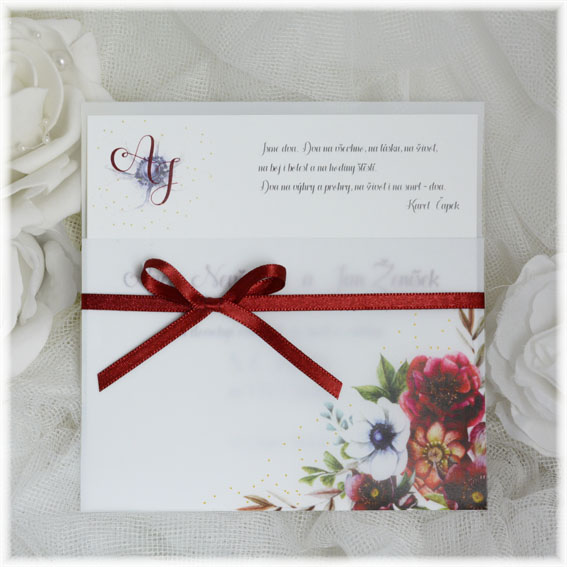 Wedding pause transparent pocket with bow and flowers