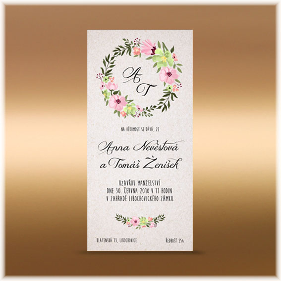 Natural wedding invitation with floral wreath