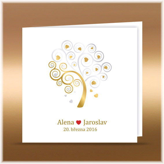 Wedding invitation with gold-silver tree