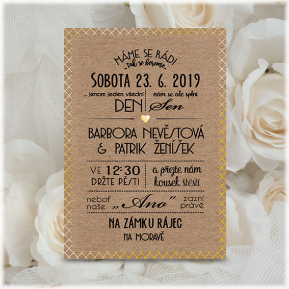 Kraft wedding invitation with gold mintage