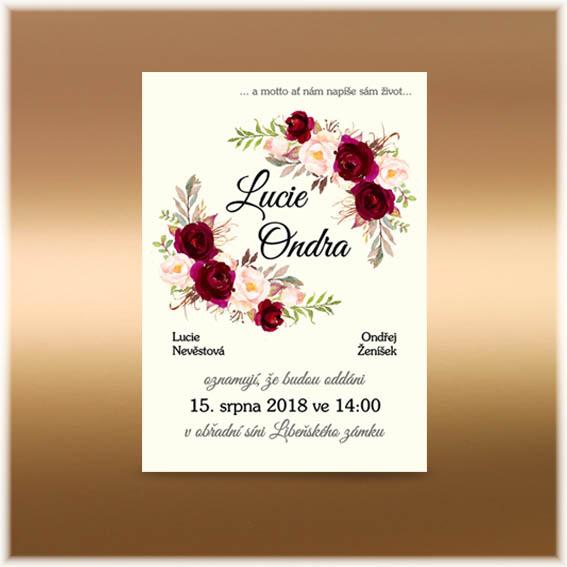 Floral přírodní svatební oznámení s květinami