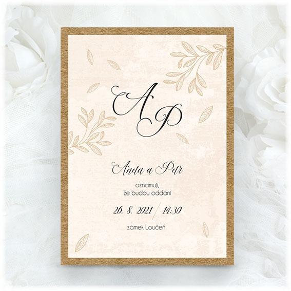 Cream wedding invitation with kraft paper underlay