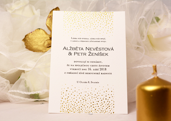 Wedding invitation with gold embossing hearts