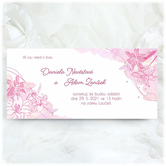 Ružové svadobné oznámenia s ľaliami