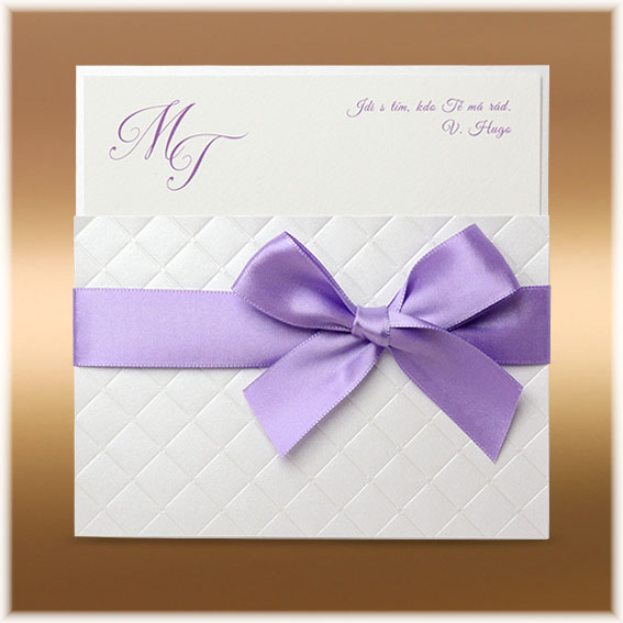 Luxurious wedding invitation with bow