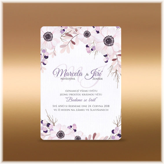 Anemone Flowers Wedding Invitation