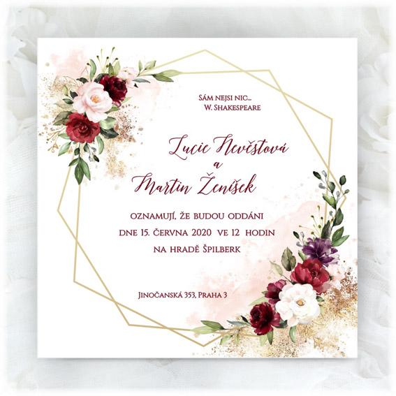 Geometric floral wedding invitation