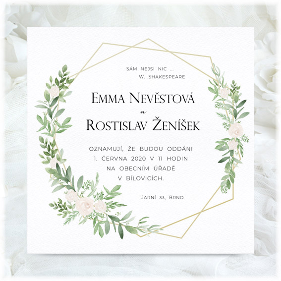 Wedding invitation floral with geometric pattern