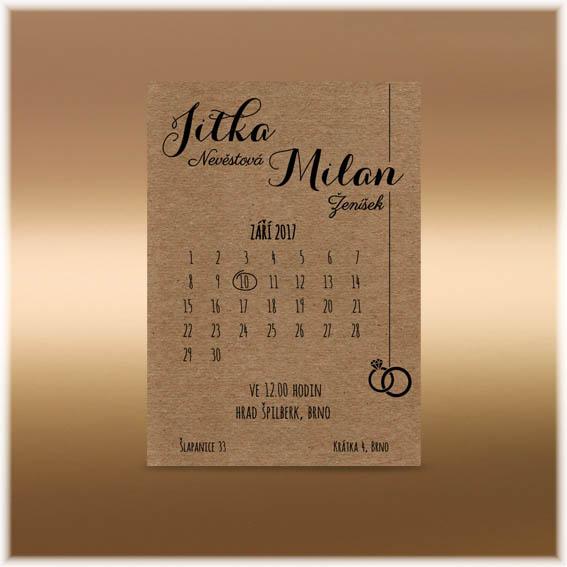 Svadobné oznámenie kalendar