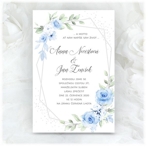 Modré svatební oznámení s květinami