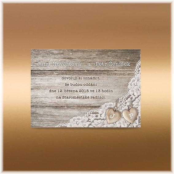 Selské svatební oznámení s krajkou