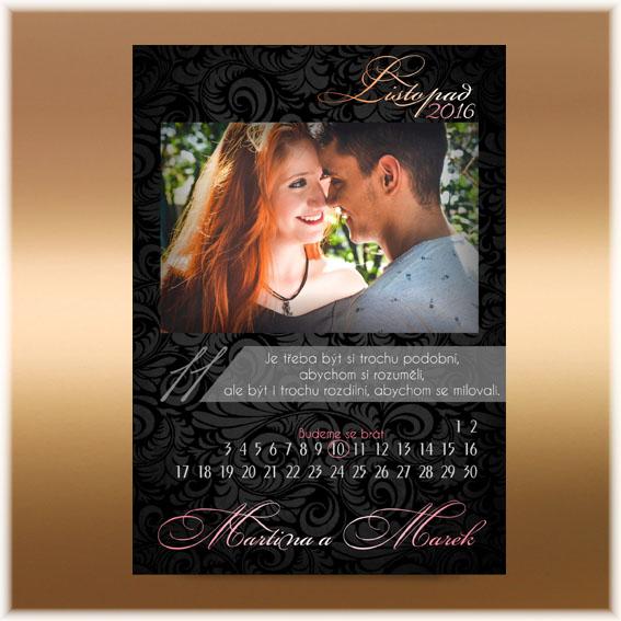Svadobné oznámenia s fotografiou - kalendár