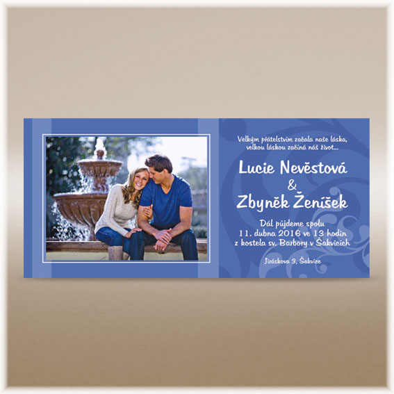 Blue photo wedding invitations