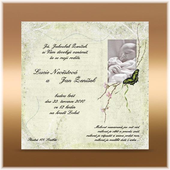 Romantické svadobné oznámenie s dieťaťom