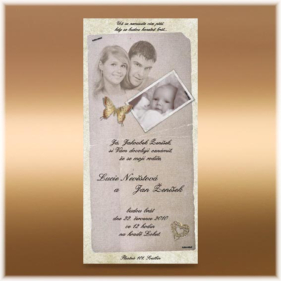 Vintage Wedding Invitation with child