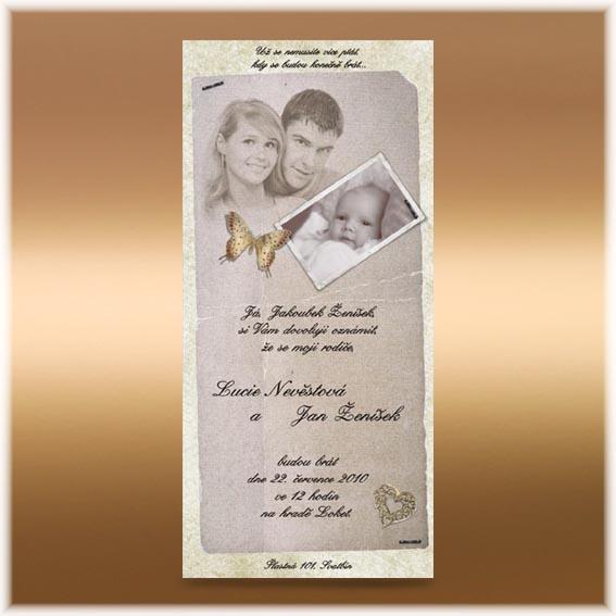 Svadobné oznámenia s fotografiami snúbencov a dieťaťa