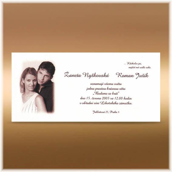 Jednoduché svatební oznámení s fotografií snoubenců