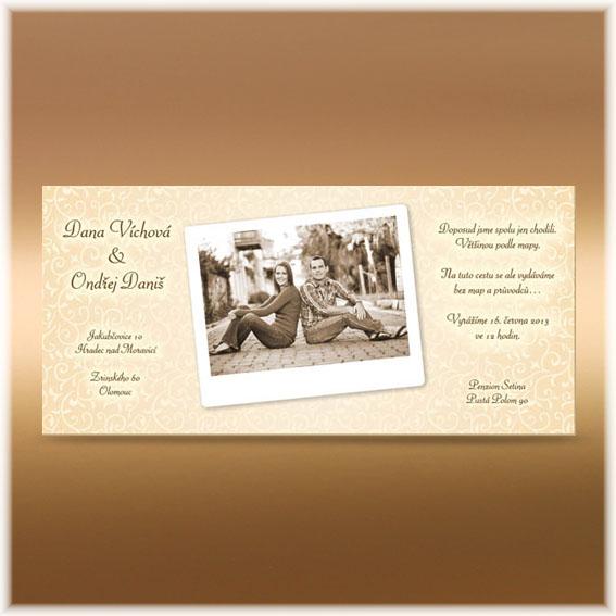 Svatební oznámení s fotografií ivory béžové
