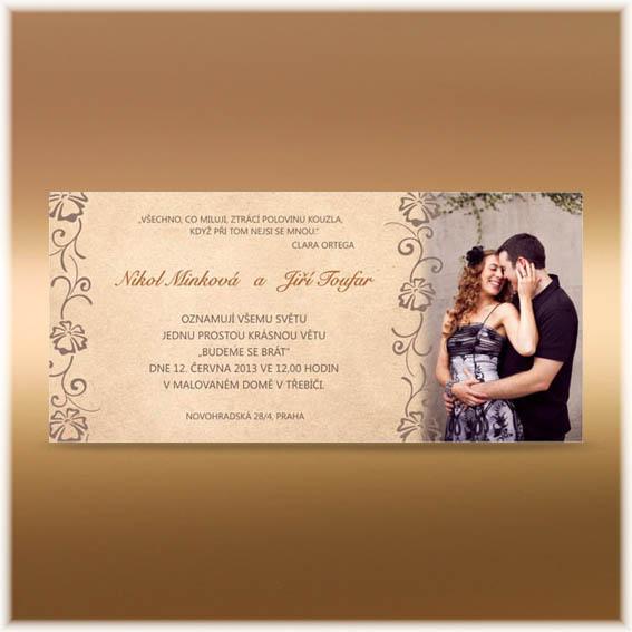 Jednoduché svadobné oznámenia s fotografiou