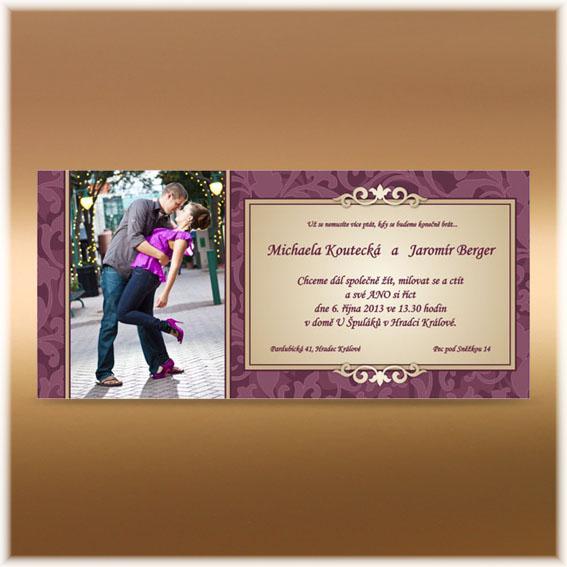 Svatební oznámení s fotografií fialové s ornamenty