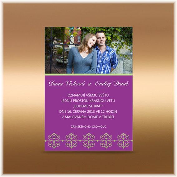 Svadobné oznámenie fialové s fotografiou